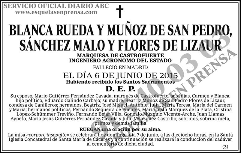 Blanca Rueda y Muñoz de San Pedro, Sánchez Malo y Flores de Lizaur